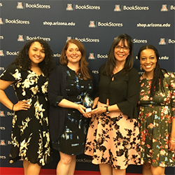 Maria Manriquez, MD, (Second from Right) and Other Members of the Pathway Scholars Program with the UA Peter W. Likins Inclusive Excellence Award