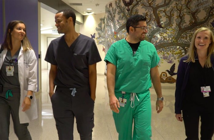 Four Residents Walk through Banner - University Medical Center Phoenix