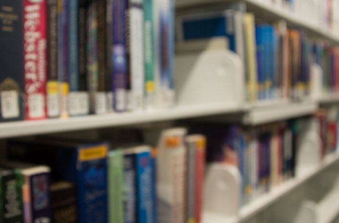Books on a Shelf in the Library