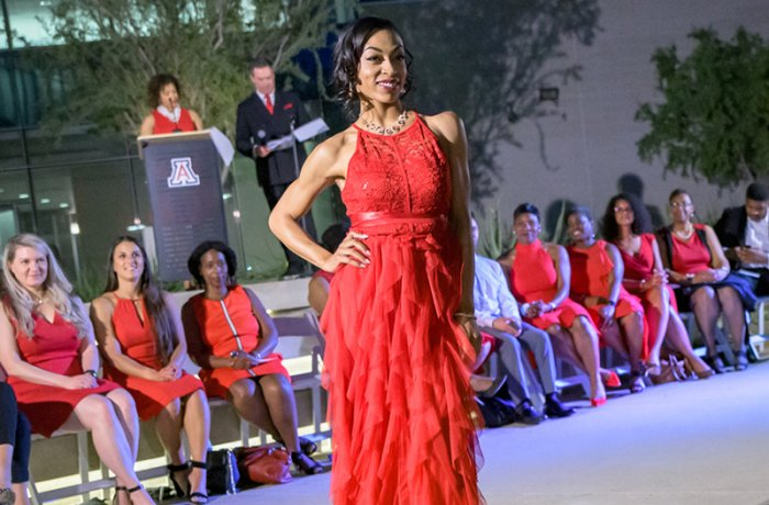 A Model on the Runway at the Red Dress Fashion Show