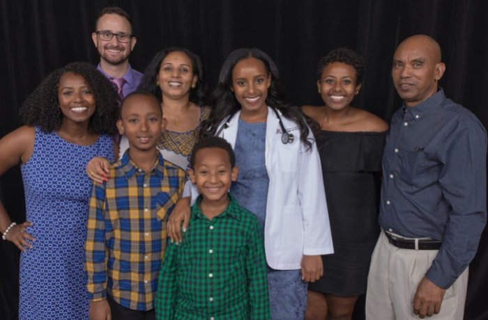 Merry Behre with Her Family at the Class of 2021 White Coat Ceremony