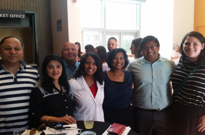 Medical Student Shivani Misra with Her Family at the White Coat Ceremony