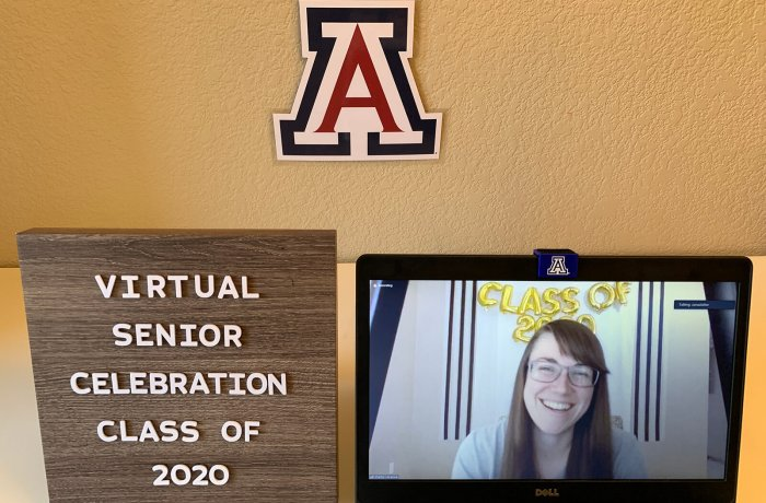 Shelby Hoebee, MD, Appears Onscreen During the Virtual Student Awards Ceremony