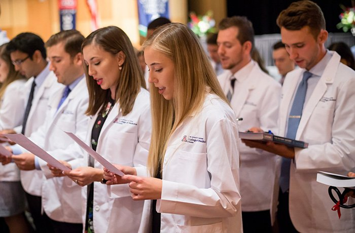 Students Reading Their Oath at the White Coat Ceremony