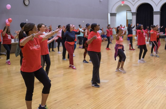 Zumba for the Heart Class in the Virginia G. Piper Auditorium