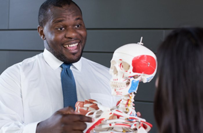 Two Pathways Students Talk, a Model of a Skeleton is in between
